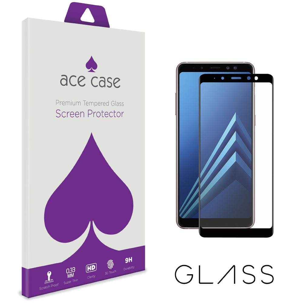 Samsung Galaxy A8 2018 Tempered Glass Screen Protector - BLACK Full 3D Edge to Edge Coverage by Ace Case
