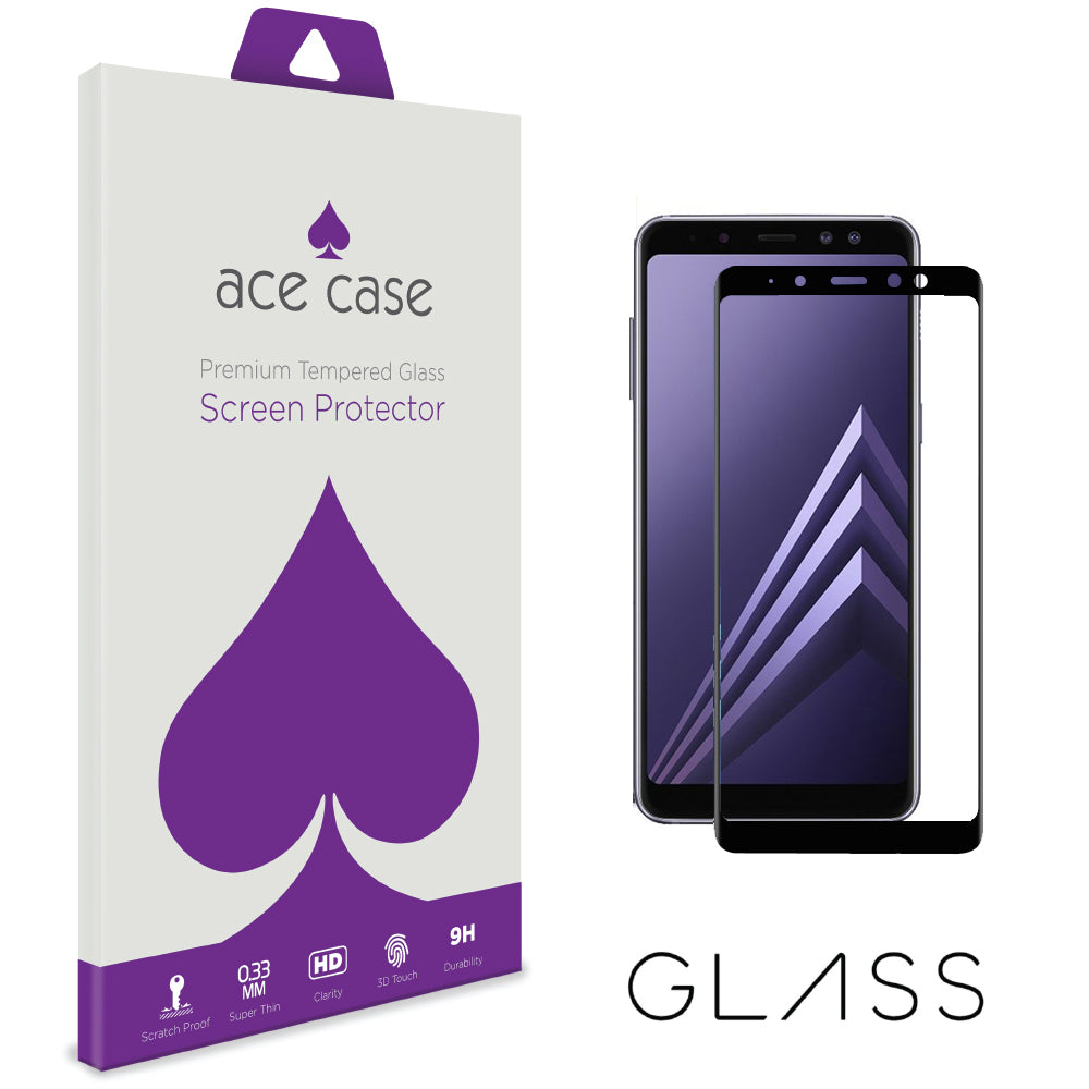 Samsung Galaxy A8 PLUS 2018 Tempered Glass Screen Protector - BLACK Full 3D Edge to Edge Coverage by Ace Case