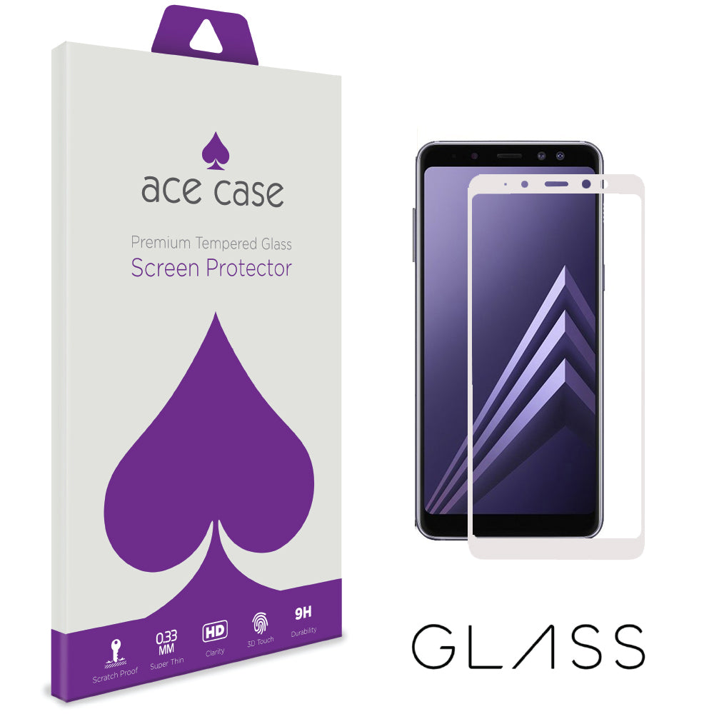 Samsung Galaxy A8 PLUS 2018 Tempered Glass Screen Protector - WHITE Full 3D Edge to Edge Coverage by Ace Case