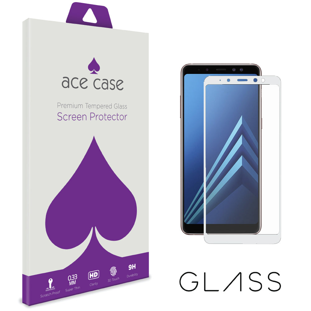 Samsung Galaxy A8 2018 Tempered Glass Screen Protector - WHITE Full 3D Edge to Edge Coverage by Ace Case