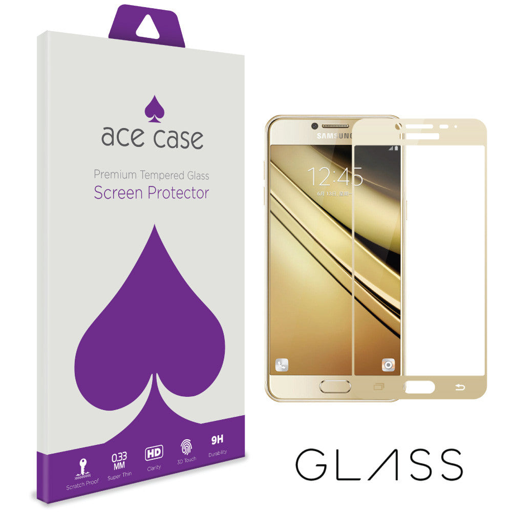 Samsung Galaxy C7 Pro Tempered Glass Screen Protector - GOLD Full 3D Edge to Edge Coverage by Ace Case