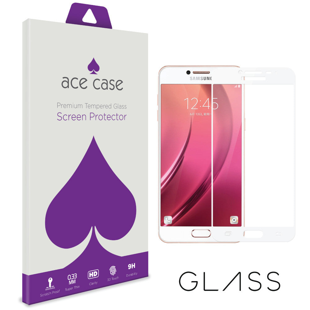Samsung Galaxy C7 Pro Tempered Glass Screen Protector - WHITE Full 3D Edge to Edge Coverage by Ace Case