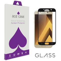 Samsung A3 2017 Tempered Glass Screen Protector - BLACK Full 3D Edge to Edge Coverage by Ace Case
