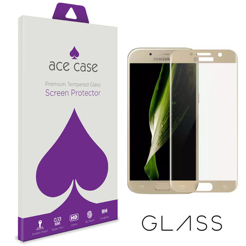 Samsung A3 2017 Tempered Glass Screen Protector - GOLD Full 3D Edge to Edge Coverage by Ace Case