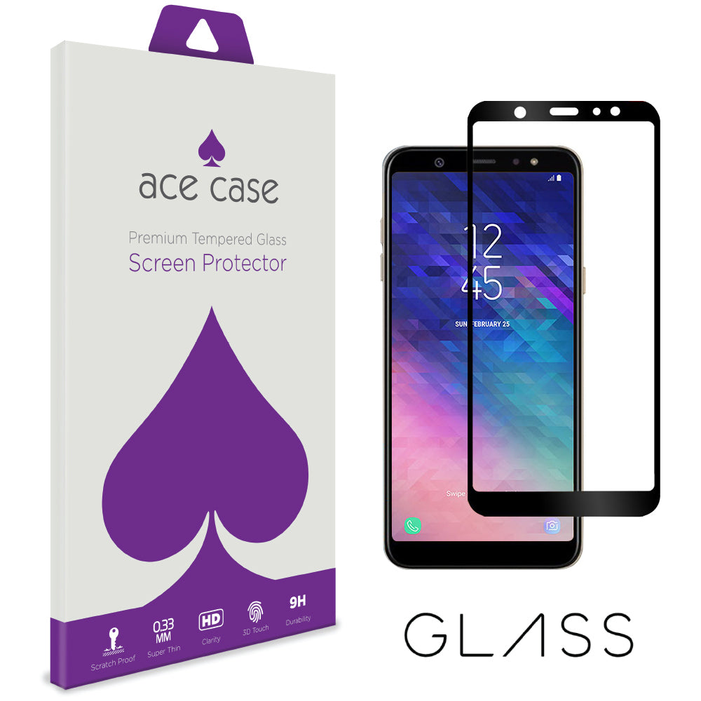 Samsung A6 2018 Tempered Glass Screen Protector - BLACK Full 3D Edge to Edge Coverage by Ace Case