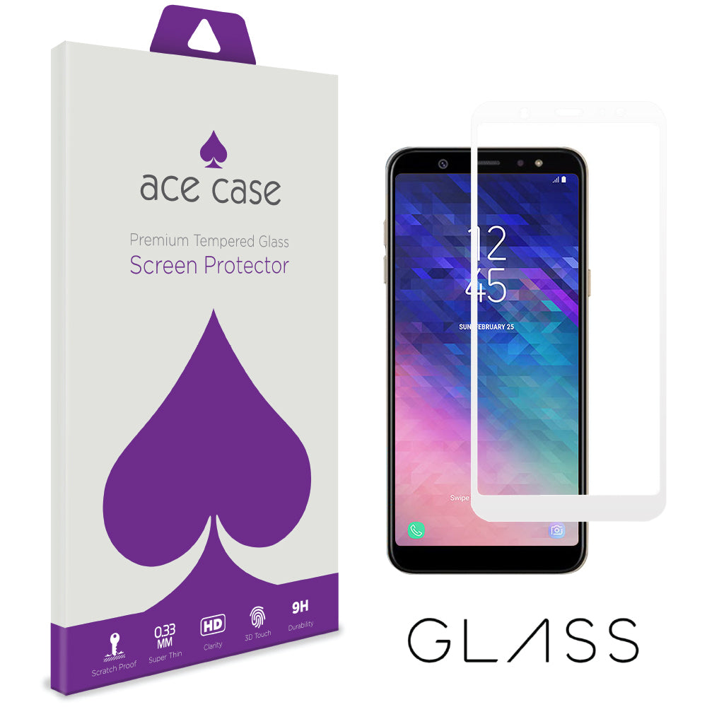 Samsung A6 2018 Tempered Glass Screen Protector - WHITE Full 3D Edge to Edge Coverage by Ace Case