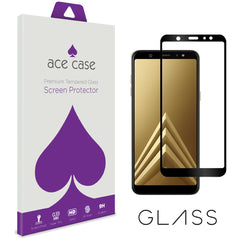 Samsung A6 PLUS 2018 Tempered Glass Screen Protector - BLACK Full 3D Edge to Edge Coverage by Ace Case