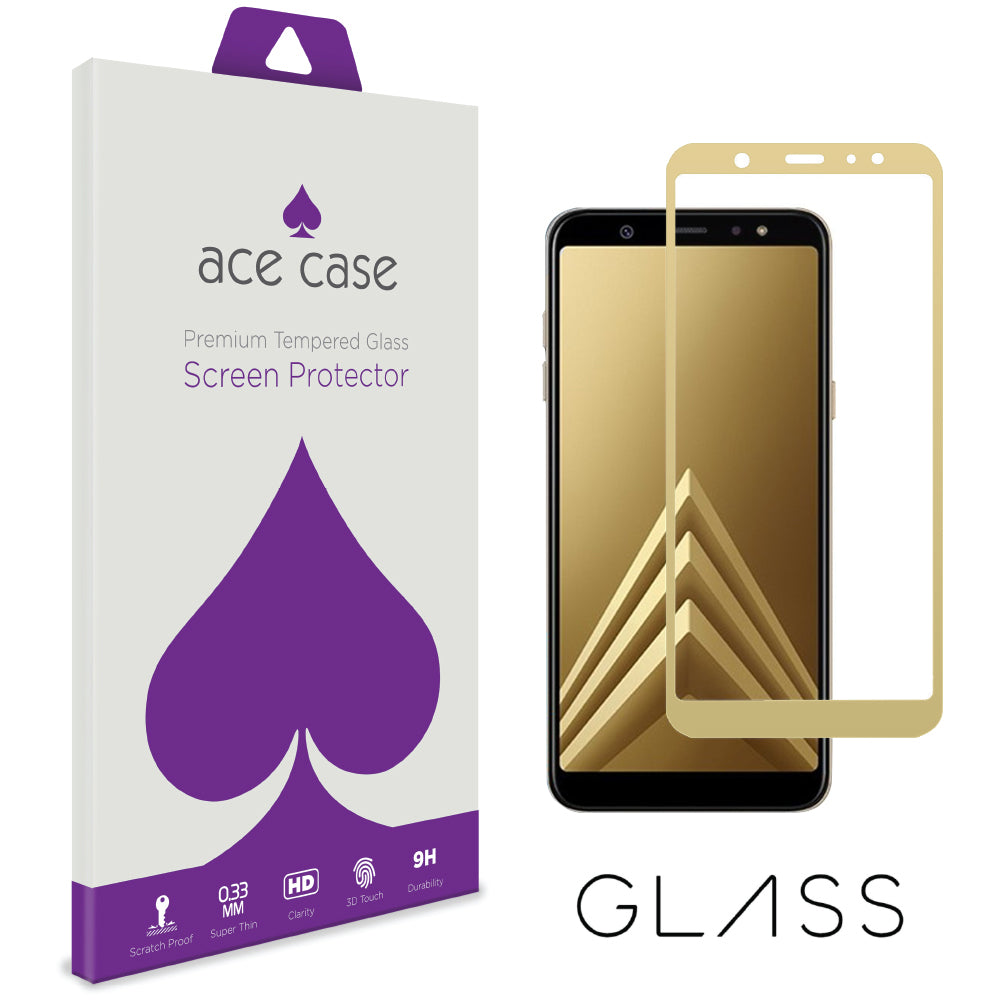 Samsung A6 PLUS 2018 Tempered Glass Screen Protector - GOLD Full 3D Edge to Edge Coverage by Ace Case