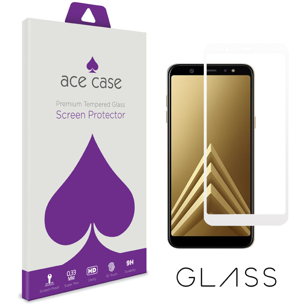 Samsung A6 PLUS 2018 Tempered Glass Screen Protector - WHITE Full 3D Edge to Edge Coverage by Ace Case