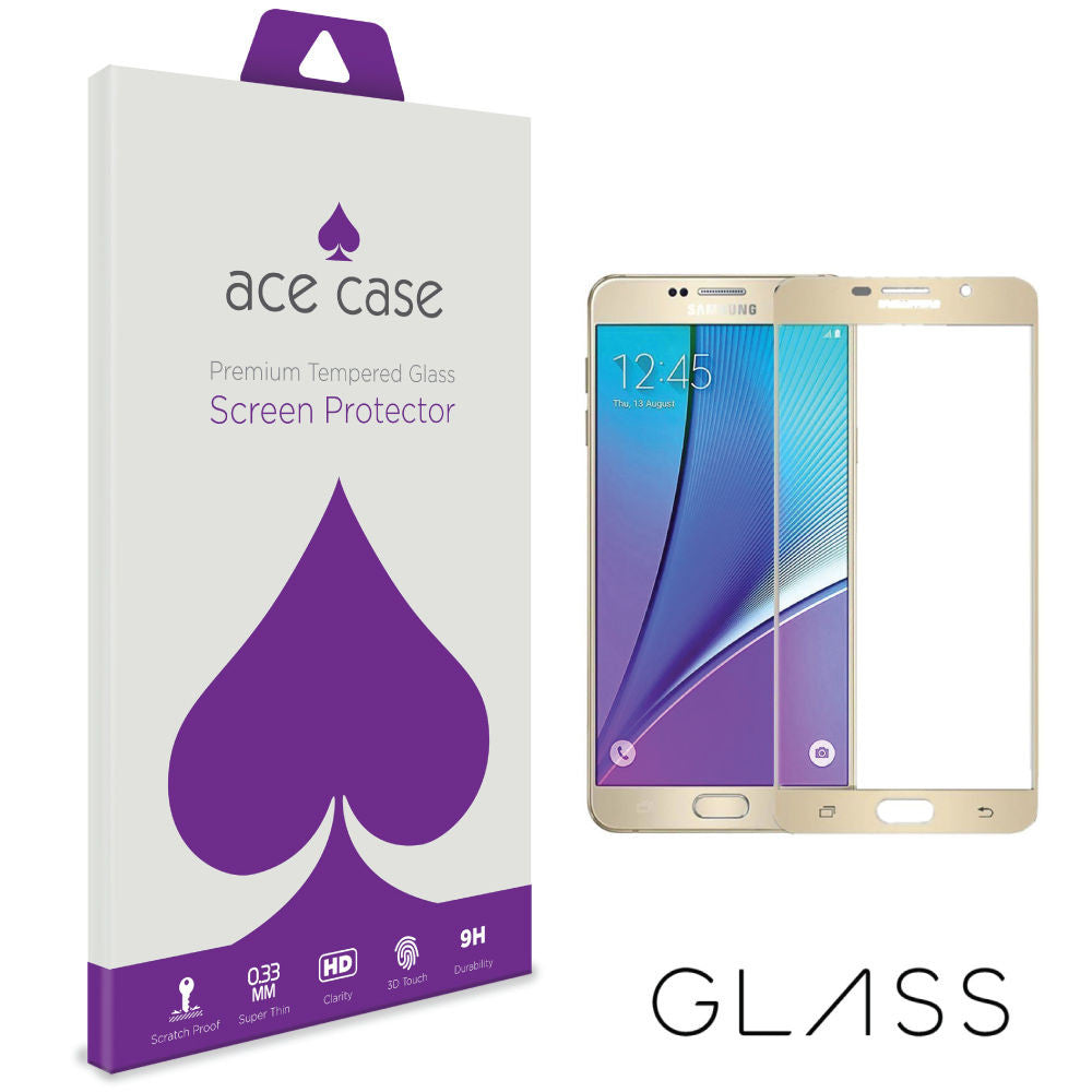 Samsung Galaxy A5 (2016) Tempered Glass Screen Protector - GOLD Full 3D Edge to Edge Coverage by Ace Case