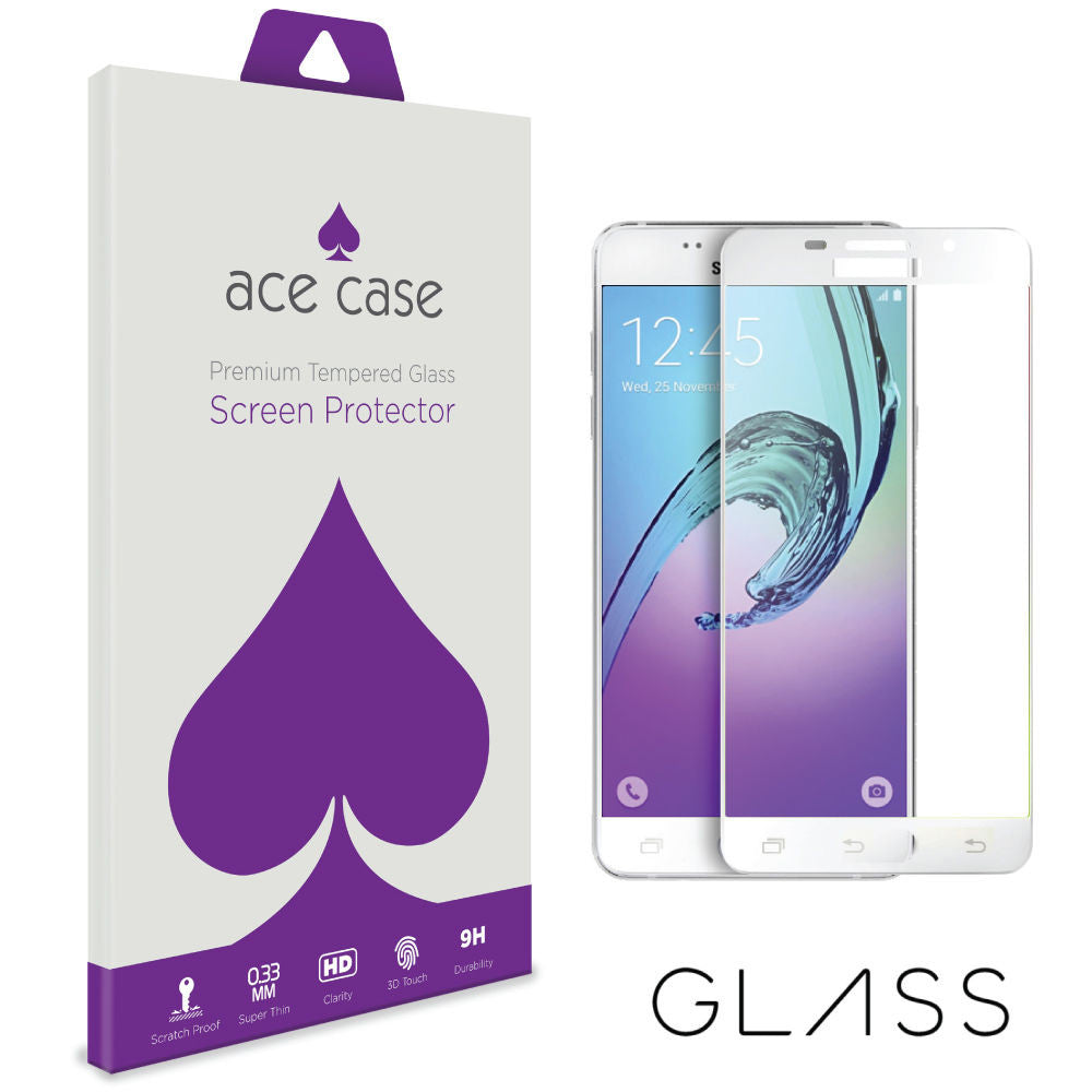 Samsung Galaxy A7 (2016) Tempered Glass Screen Protector - WHITE Full 3D Edge to Edge Coverage by Ace Case