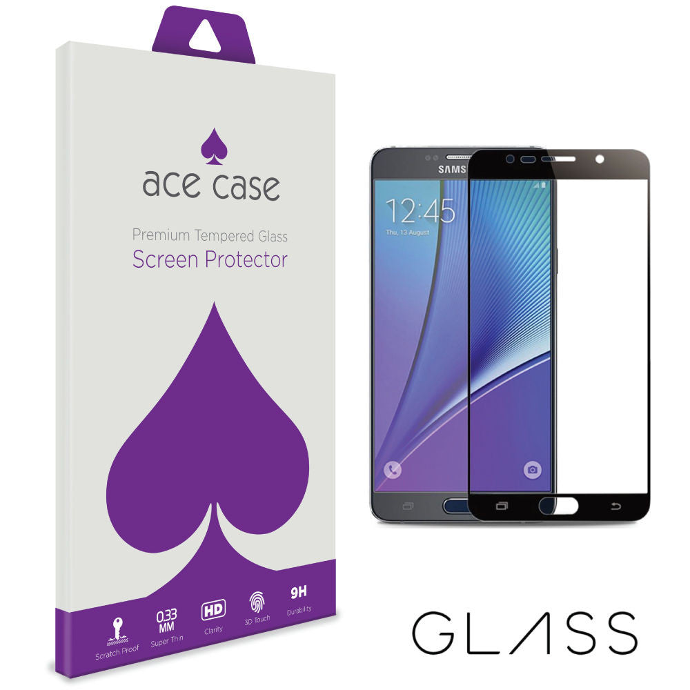 Samsung Galaxy Note 5 Tempered Glass Screen Protector - BLACK Full 3D Edge to Edge Coverage by Ace Case