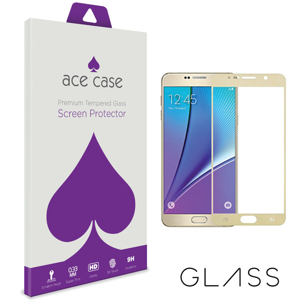 Samsung Galaxy Note 5 Tempered Glass Screen Protector - GOLD Full 3D Edge to Edge Coverage by Ace Case