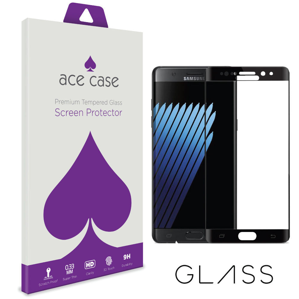Samsung Galaxy Note 7 Tempered Glass Screen Protector - BLACK Full 3D Edge to Edge Coverage by Ace Case
