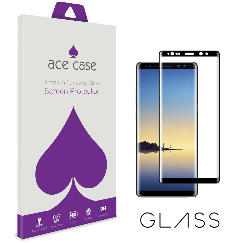 Samsung Galaxy Note 8 Tempered Glass Screen Protector - BLACK Full 3D Edge to Edge Coverage by Ace Case