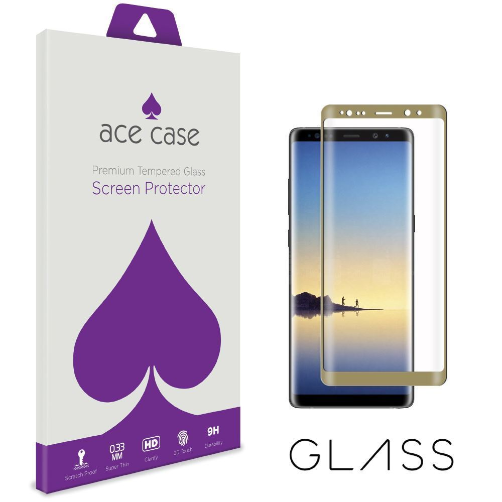 Samsung Galaxy Note 8 Tempered Glass Screen Protector - GOLD Full 3D Edge to Edge Coverage by Ace Case