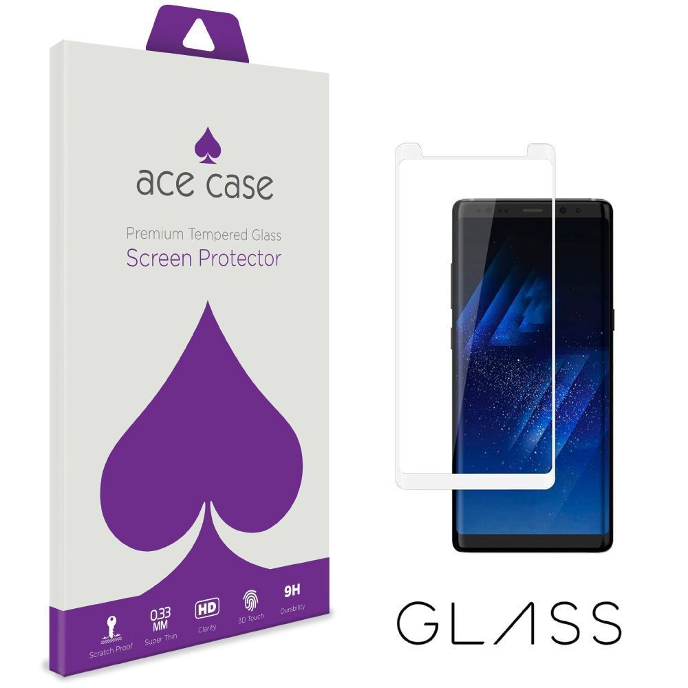 Samsung Galaxy Note 8 Tempered Glass Screen Protector - WHITE Full 3D Edge to Edge Coverage by Ace Case