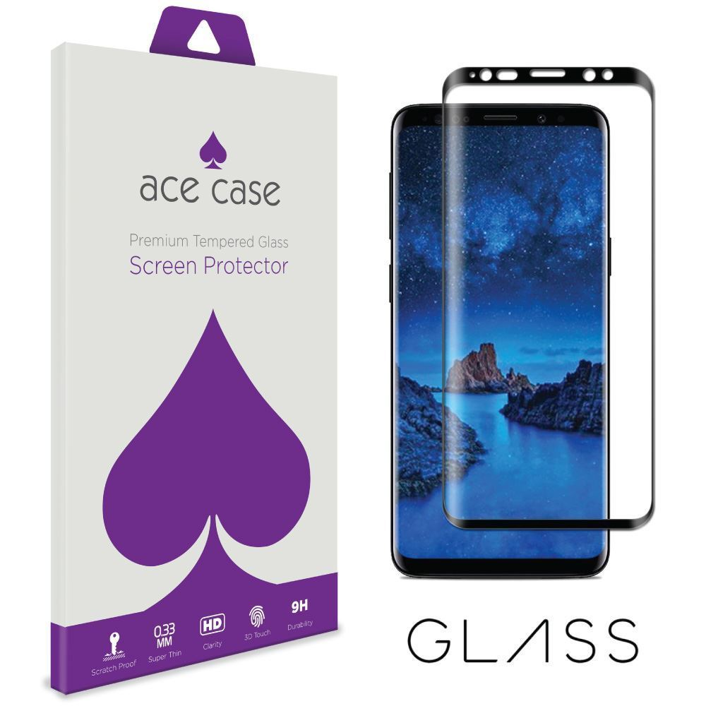 Samsung Galaxy S9 Tempered Glass Screen Protector - BLACK Full 3D Edge to Edge Coverage by Ace Case