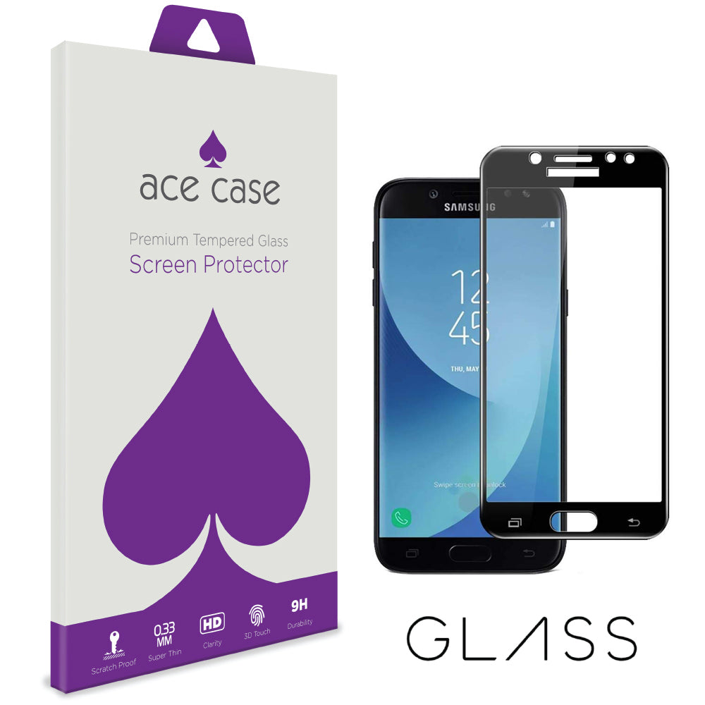 Samsung J7 DUO Tempered Glass Screen Protector - BLACK Full 3D Edge to Edge Coverage by Ace Case