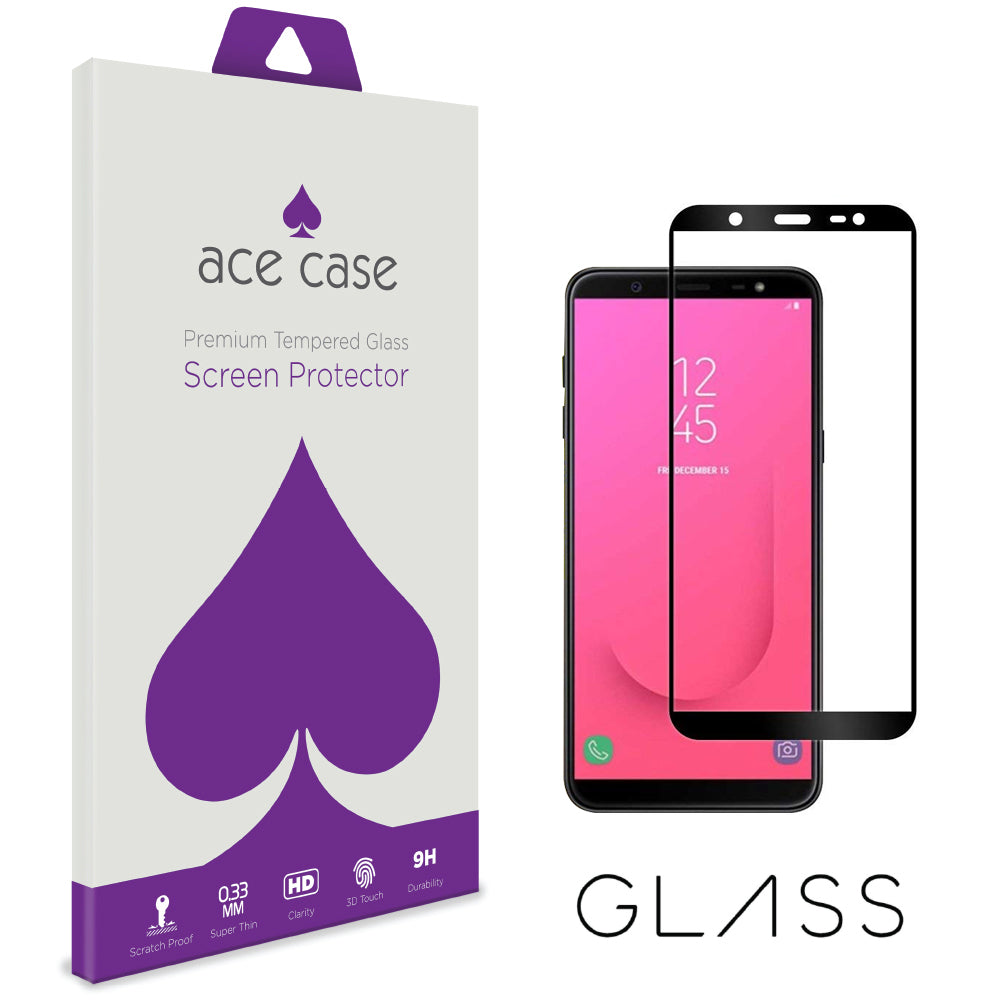 Samsung J8 2018 Tempered Glass Screen Protector - BLACK Full 3D Edge to Edge Coverage by Ace Case