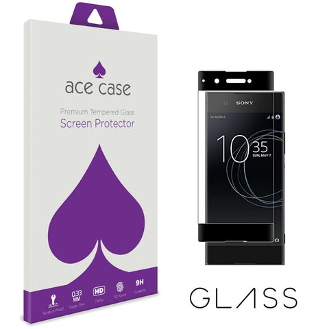 Sony Xperia XA1 Tempered Glass Screen Protector - BLACK Full 3D Edge to Edge Coverage by Ace Case