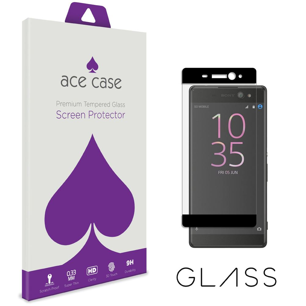 Sony Xperia XA Tempered Glass Screen Protector - BLACK Full 3D Edge to Edge Coverage by Ace Case