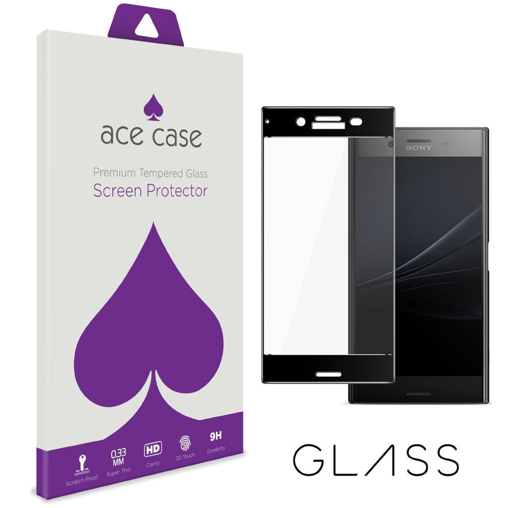 Sony Xperia XZ1 Compact Tempered Glass Screen Protector - BLACK Full 3D Edge to Edge Coverage by Ace Case