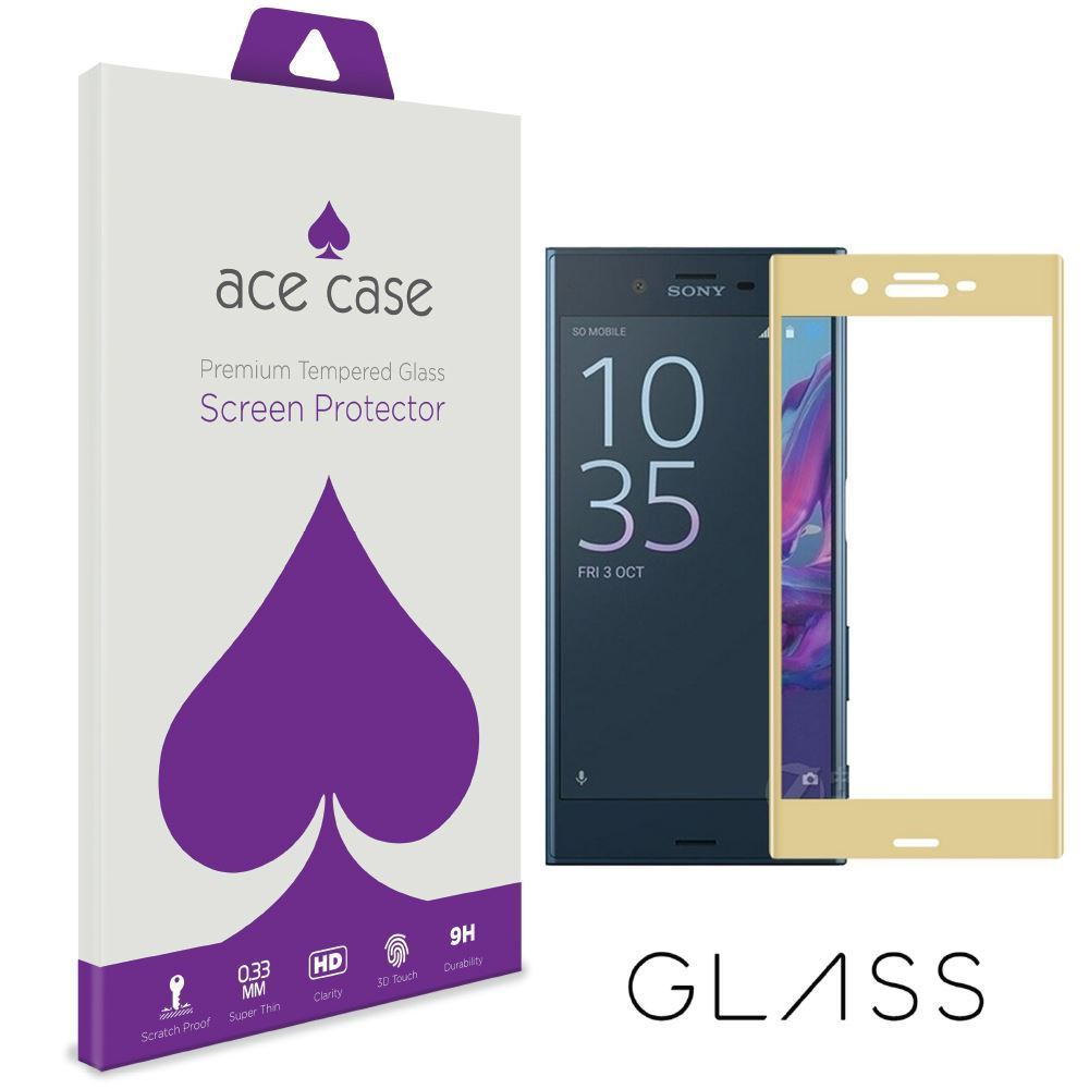 Sony Xperia XZ1 Compact Tempered Glass Screen Protector - GOLD Full 3D Edge to Edge Coverage by Ace Case