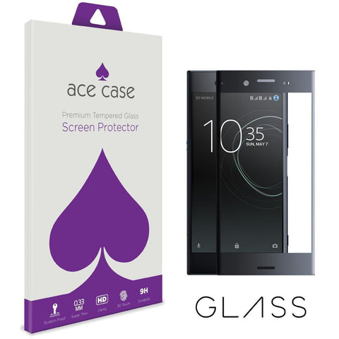 Sony Xperia XZ Premium Tempered Glass Screen Protector - BLACK Full 3D Edge to Edge Coverage by Ace Case