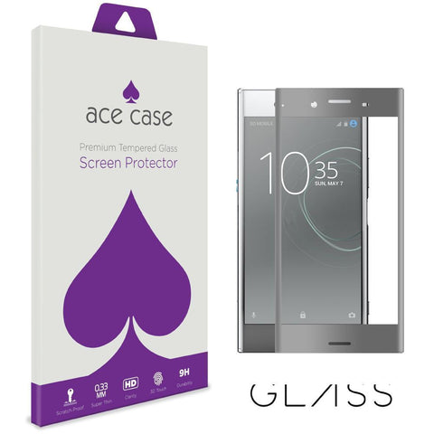 Sony Xperia XZ Premium Tempered Glass Screen Protector - Grey Full 3D Edge to Edge Coverage by Ace Case
