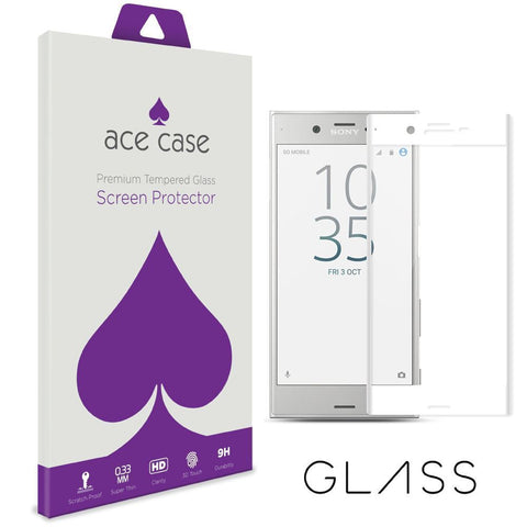 Sony Xperia XZ Premium Tempered Glass Screen Protector - WHITE Full 3D Edge to Edge Coverage by Ace Case