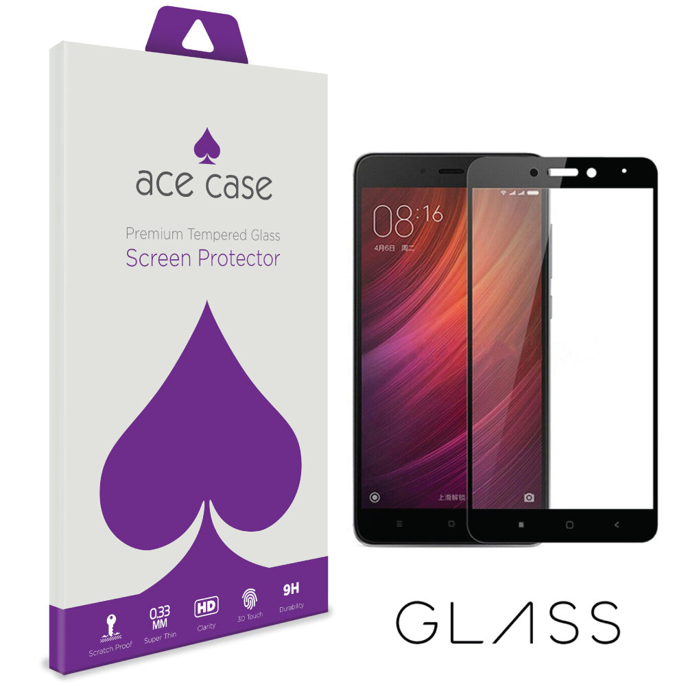 Xiaomi Redmi 4 (4X) Tempered Glass Screen Protector - BLACK Full 3D Edge to Edge Coverage by Ace Case