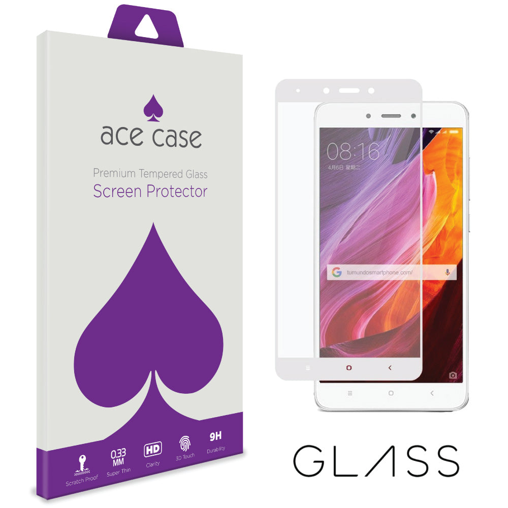 Xiaomi Redmi 4 (4X) Tempered Glass Screen Protector - WHITE Full 3D Edge to Edge Coverage by Ace Case