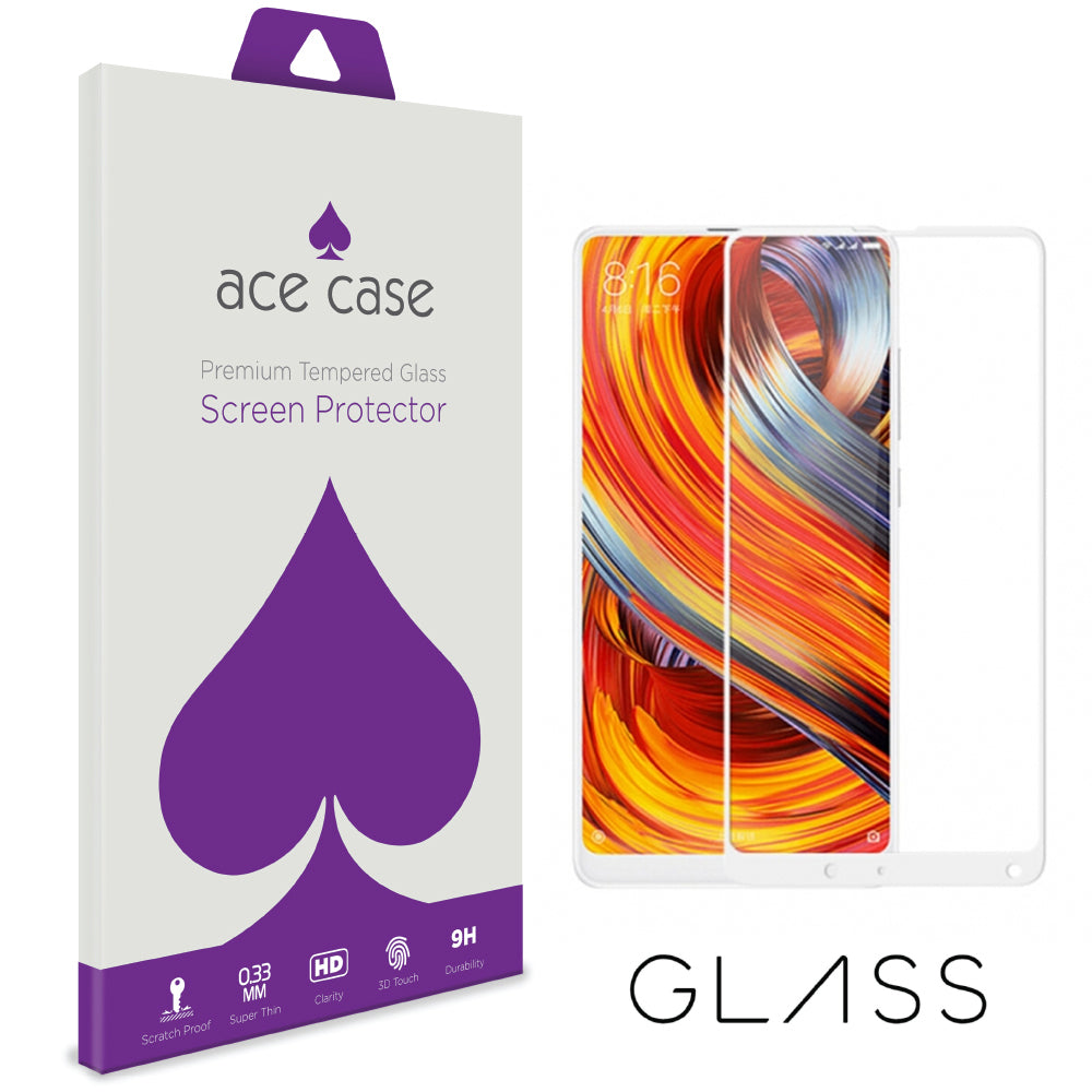 Xiaomi Mi Mix 2S Tempered Glass Screen Protector - WHITE Full 3D Edge to Edge Coverage by Ace Case