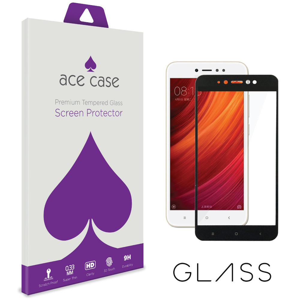 Xiaomi Redmi Note 5A Tempered Glass Screen Protector - BLACK Full 3D Edge to Edge Coverage by Ace Case