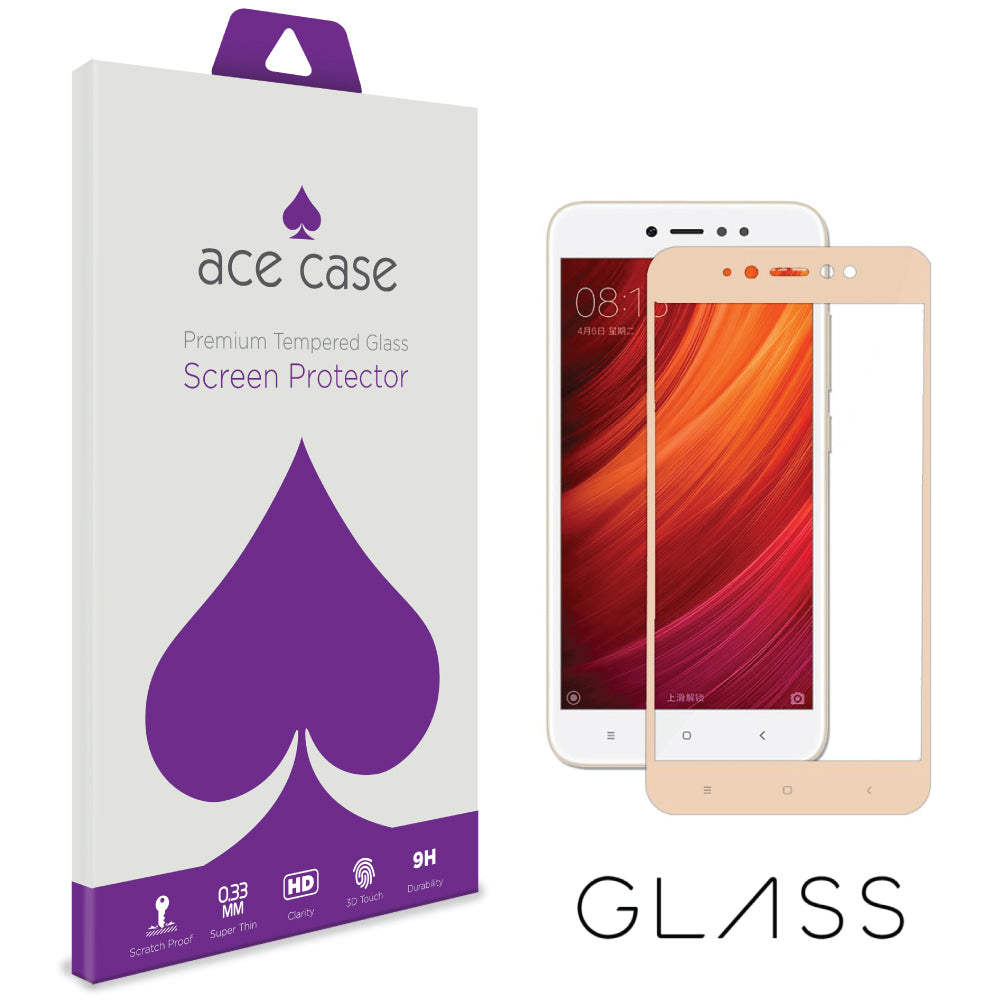 Xiaomi Redmi Note 5A Tempered Glass Screen Protector - GOLD Full 3D Edge to Edge Coverage by Ace Case