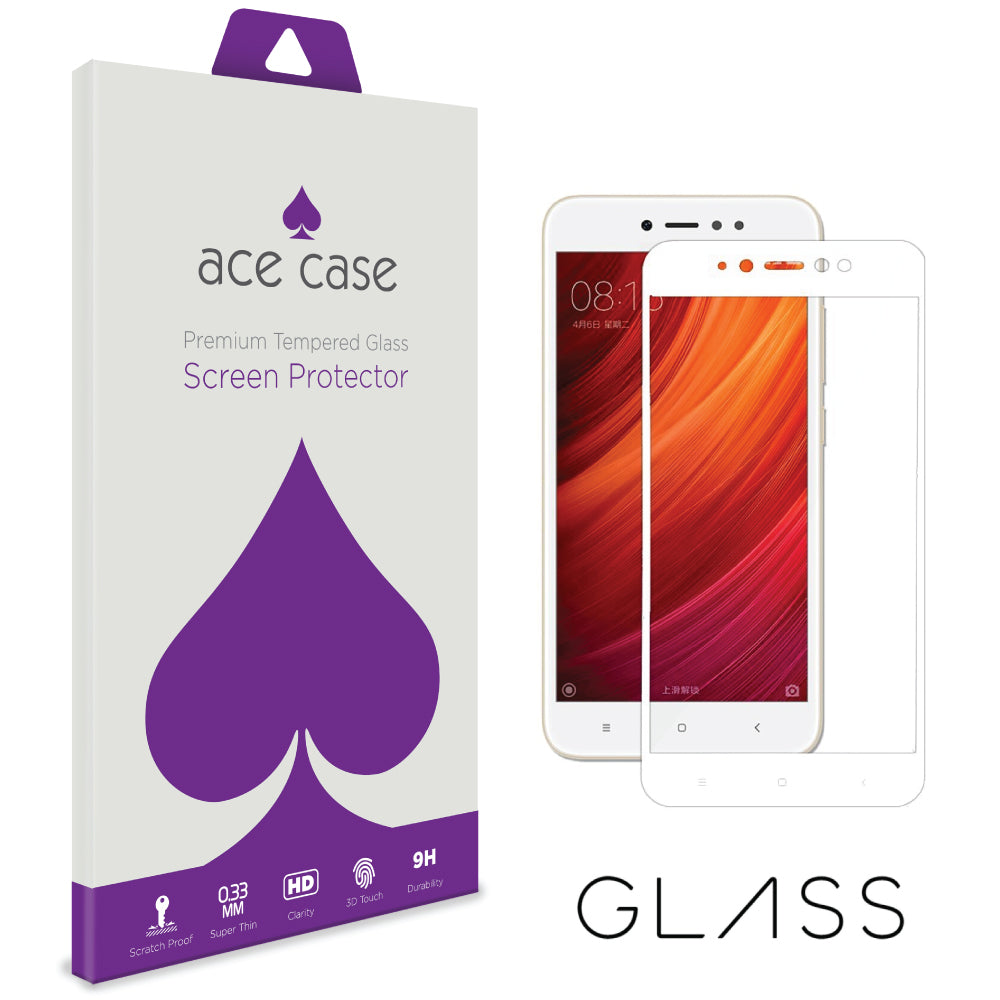 Xiaomi Redmi Note 5A Prime Tempered Glass Screen Protector - WHITE Full 3D Edge to Edge Coverage by Ace Case