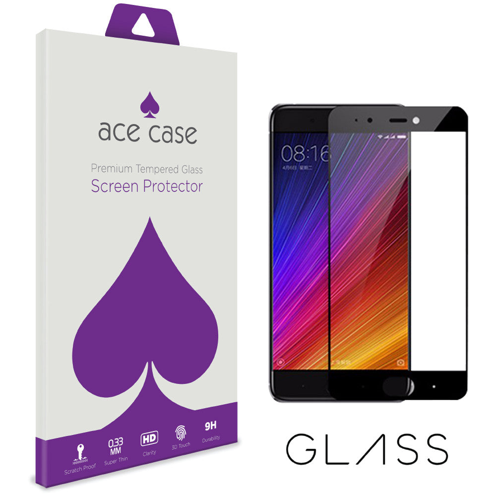 Xiaomi Mi 5s Tempered Glass Screen Protector - BLACK Full 3D Edge to Edge Coverage by Ace Case