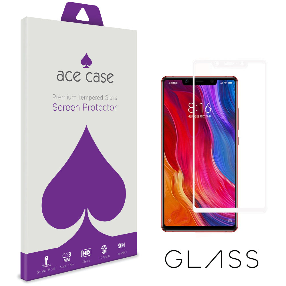 Xiaomi Mi 8 Tempered Glass Screen Protector - WHITE Full 3D Edge to Edge Coverage by Ace Case
