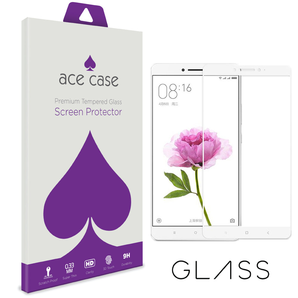Xiaomi Mi Max 2 Tempered Glass Screen Protector - WHITE Full 3D Edge to Edge Coverage by Ace Case