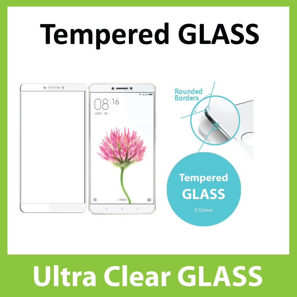 Xiaomi Mi Max Tempered Glass Screen Protector - WHITE Full 3D Edge to Edge Coverage by Ace Case