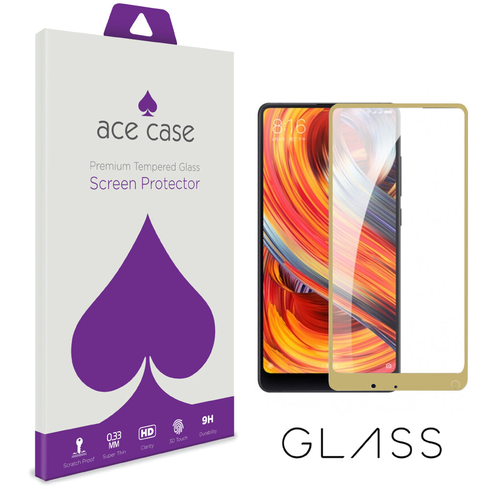 Xiaomi Mi Mix 2 Tempered Glass Screen Protector - GOLD Full 3D Edge to Edge Coverage by Ace Case