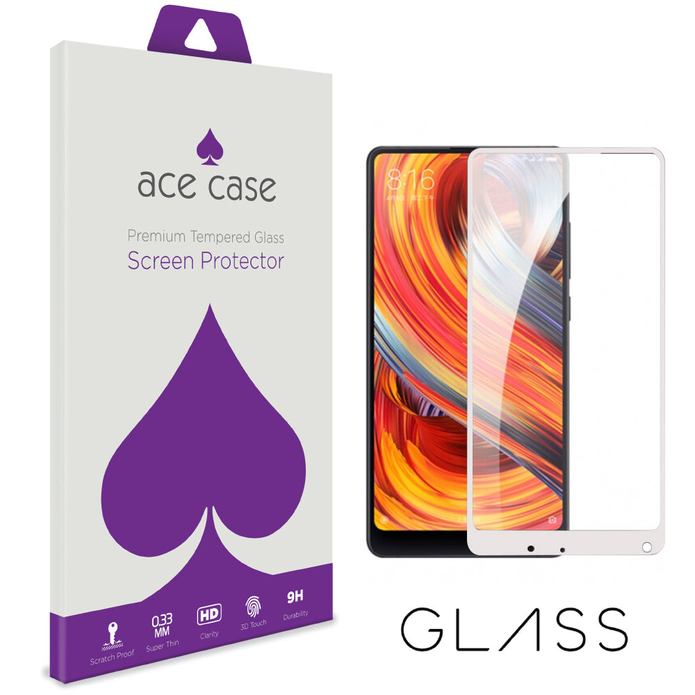 Xiaomi Mi Mix 2 Tempered Glass Screen Protector - WHITE Full 3D Edge to Edge Coverage by Ace Case