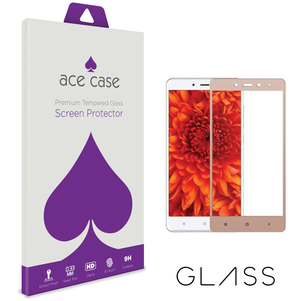 Xiaomi Redmi Note 4 Tempered Glass Screen Protector - GOLD Full 3D Edge to Edge Coverage by Ace Case