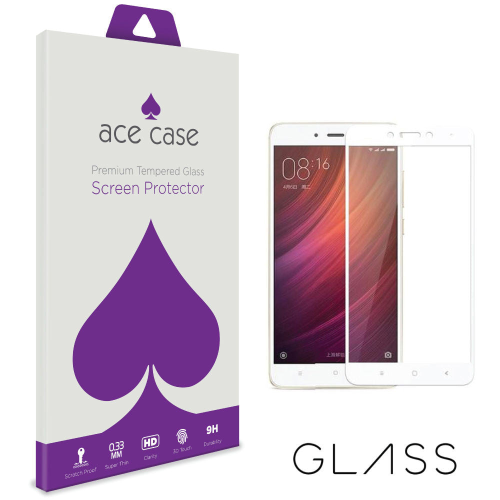 Xiaomi Redmi Note 4 Tempered Glass Screen Protector - BLACK Full 3D Edge to Edge Coverage by Ace Case