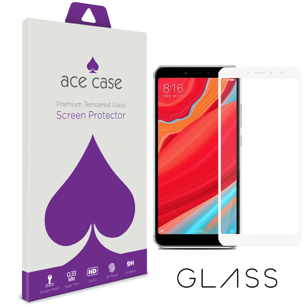 Xiaomi Redmi S2 Tempered Glass Screen Protector - WHITE Full 3D Edge to Edge Coverage by Ace Case