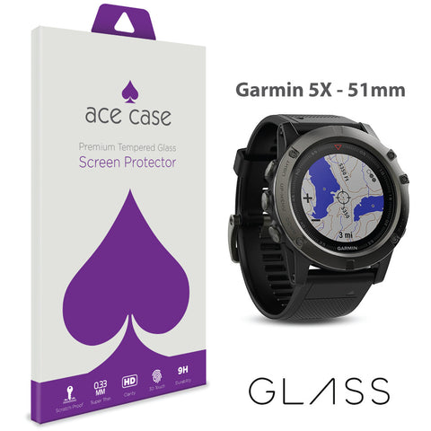 Garmin Fenix 5X - 51mm Tempered Glass Screen Protector by Ace Case