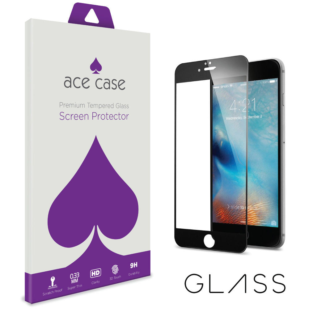 iPhone 6S PLUS Tempered Glass Screen Protector - BLACK Full 3D Edge to Edge Coverage by Ace Case