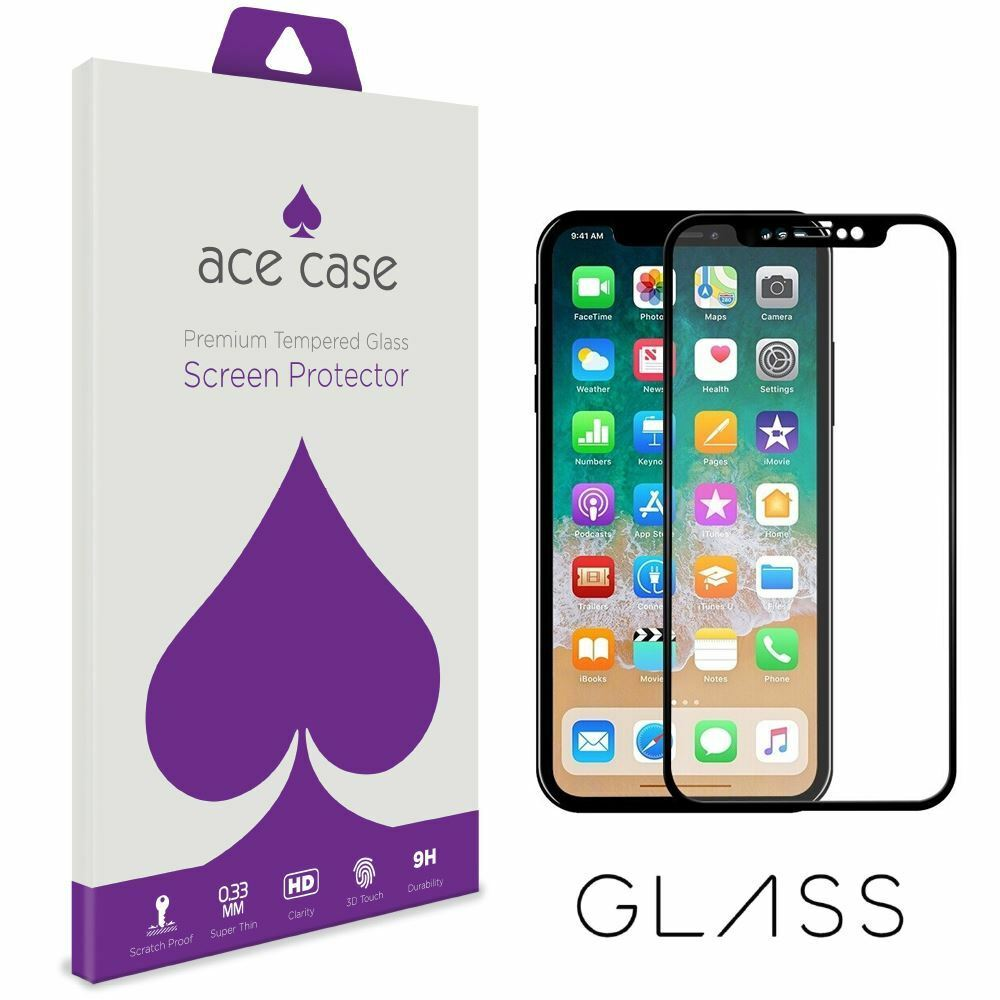 Apple iPhone XR Tempered Glass Screen Protector - BLACK Full 3D Edge to Edge Coverage by Ace Case