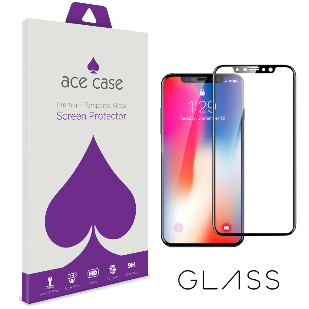 iPhone X / iPhone 10 Tempered Glass Screen Protector - BLACK Full 3D Edge to Edge Coverage by Ace Case